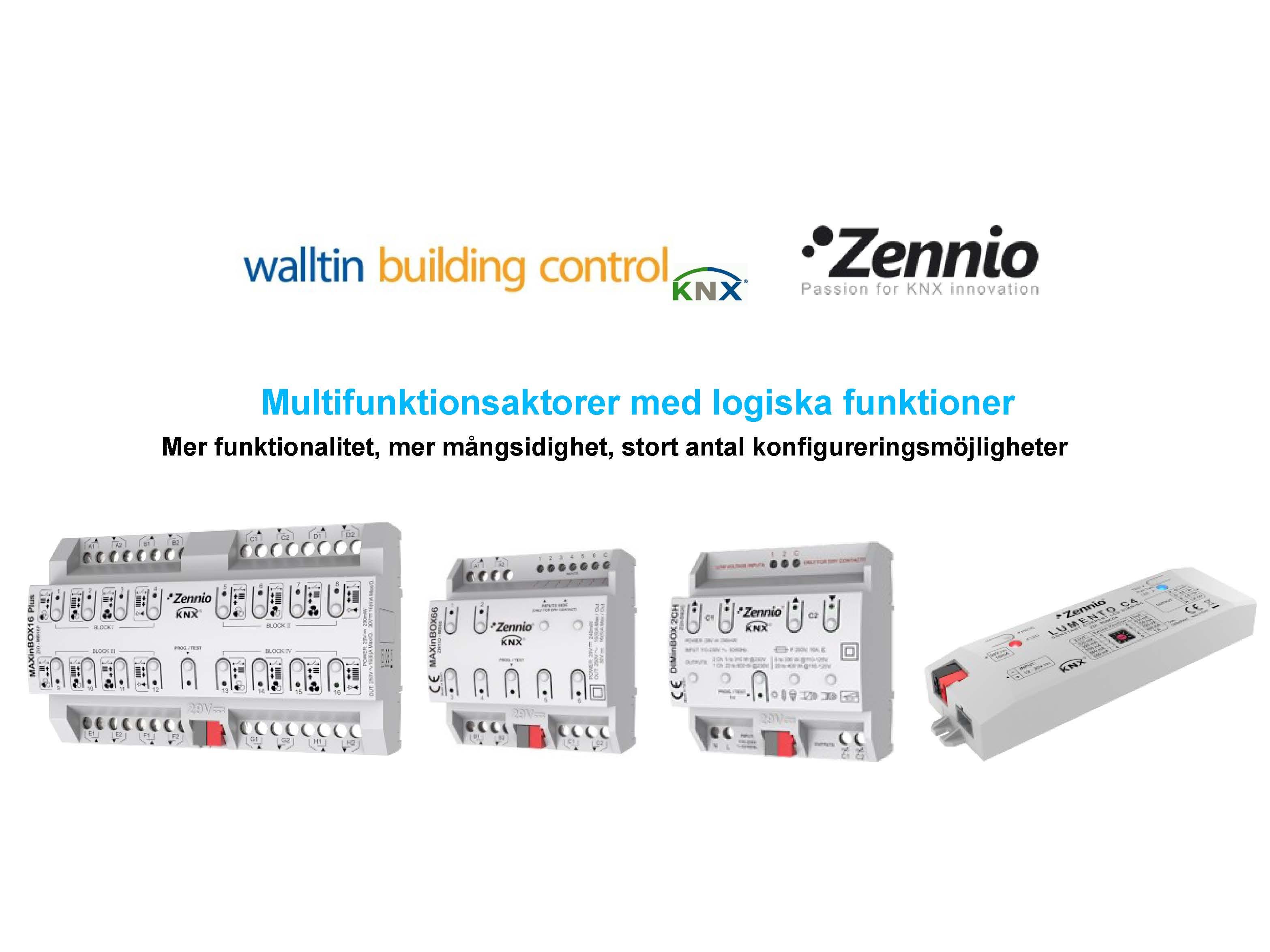 Zennio Multifunktionsaktorer med logiska funktioner.